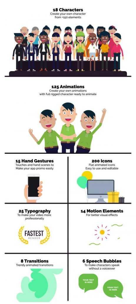 پک ابزار ساخت کارکتر کارتونی موشن گرافیک Character Maker 2