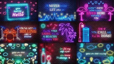 پروژه اماده افتر افکت نمایش متن و موزیک با نئون Neon Lyrics Template