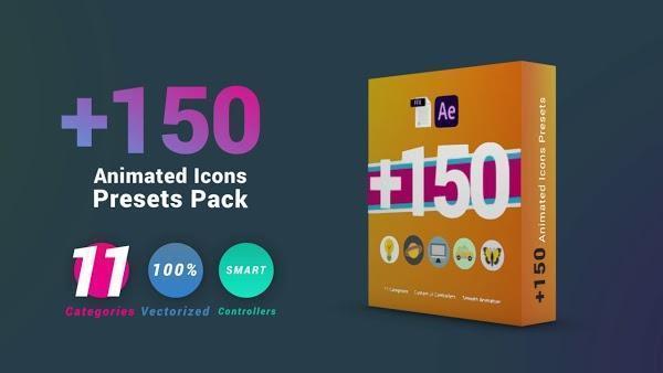 دانلود پریست افتر افکت ۱۵۰ ایکون متحرک  Animated Icons Presets