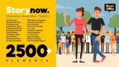 دانلود ۲۵۰۰ المان های آماده موشن گرافیک  character animation explainer
