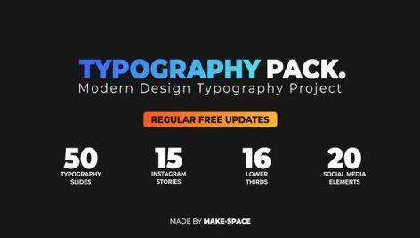 مجموعه بی نظیر طراحی تاپیوگرافی افتر افکت Typography Design Pack