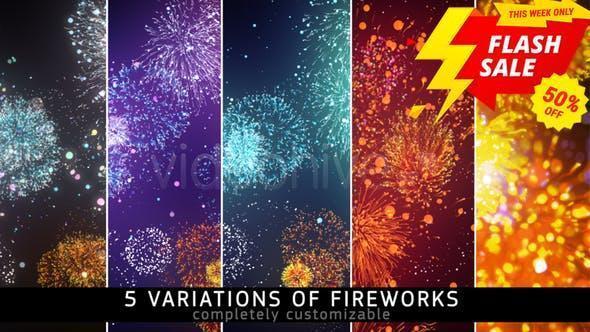 دانلود فوتیج اتش بازی fireworks footage videohive