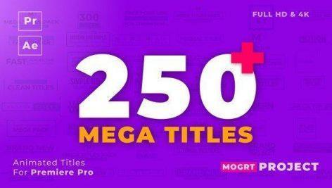 Mogrt Titles 250 Animated Titles for Premiere Pro After Effects