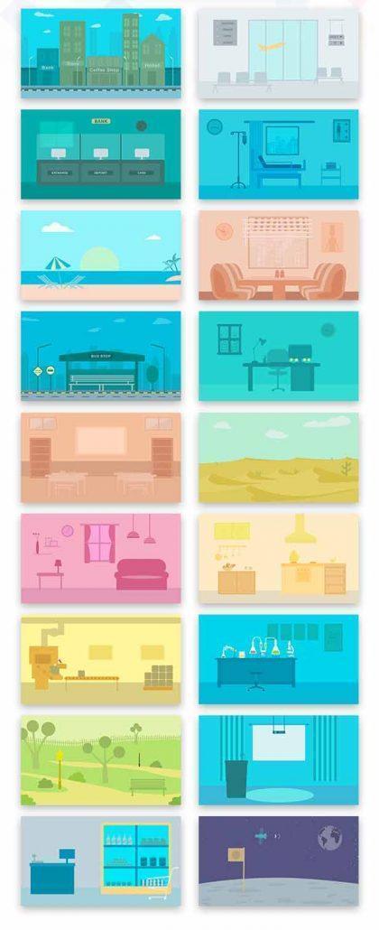جعبه ابزار موشن گرافیک شامل کارکتر مسلمان و عرب