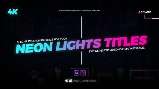 دانلود رایگان تایتل افتر افکت Neon Lights Titles