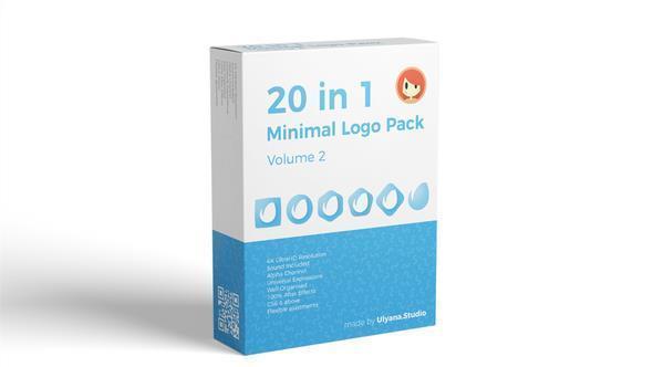 پروژه اماده افتر افکت نمایش 20 لوگو Minimal Logo Pack