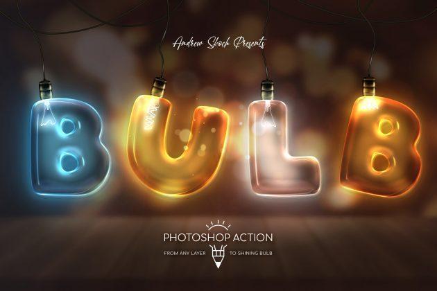 دانلود اکشن فتوشاپ : لامپ برق Action light bulb