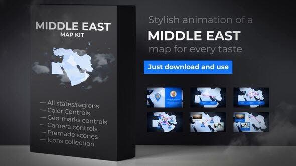 پروژه اماده افتر افکت: نقشه کشورهای خاورمیانه و ایران