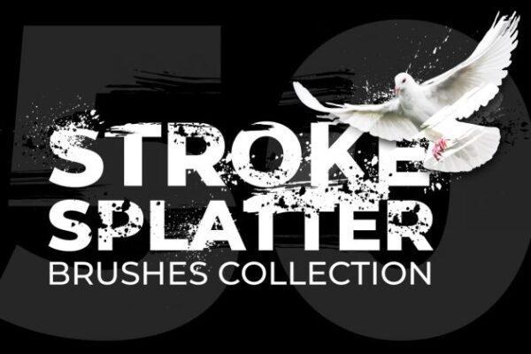 مجموعه 50 براش فتوشاپ Brush Strokes & Splatters