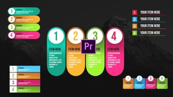 پروژه اماده پریمیر نمایش لیست اینفوگرافیک Infographic Unique Lists