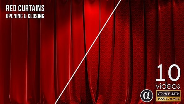 دانلود فوتیج پرده قرمز سه بعدی 3D Realistic Red Curtains