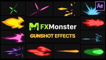 افکت کارتونی شلیک گلوله برای افترافکت gunshot-effects