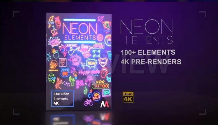 دانلود 100 فوتیج اماده نئون neon elements pack