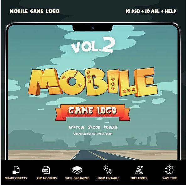 مجموعه PSD افکت متن بازی موبایل Mobile Game Text Effects