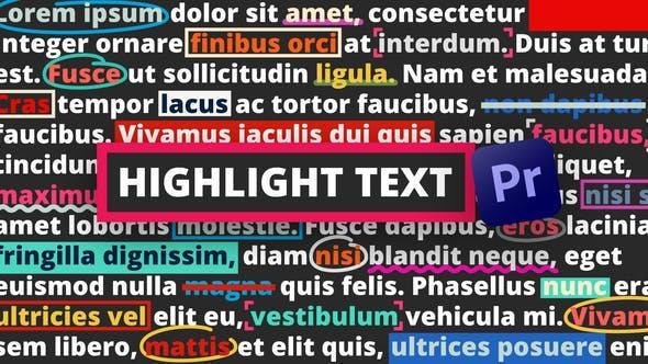پروژه اماده هایلایت کردن متن در پریمیر Highlight Text Premiere