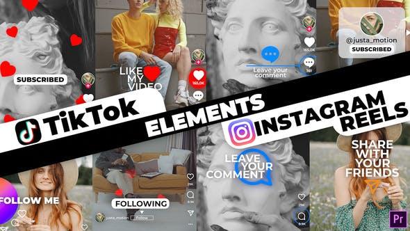 المانهای اینستاگرام و تیک تاک برای پریمیر TikTok & Instagram Elements